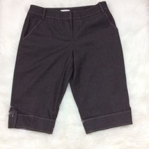 Ann Taylor Loft Marisa Bermuda Shorts Womens Sz 10P Capri Gray Pinstripe... - $18.69