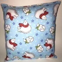 Polar Bears Pillow HANDMADE In USA Coca-Cola Style Pillow Bear Pillow SOFT - $9.99