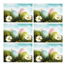 InterestPrint Happy Easter Decoration Easter Eggs with Daisies Polyester... - $39.59