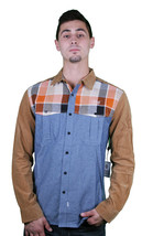 Crooks and Castles Sportsman Khaki Indigo/Orange Plaid Shirt Size M