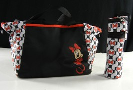 DISNEY BABY Minnie Mouse Print Diaper Bag Tote Black Red w/ Bottle Holde... - $24.99
