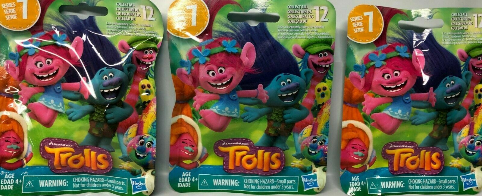 Primary image for 3x Trolls Series 7 Pack Hasbro Dreamworks Stocking Stuffer Party Favor NEW THREE