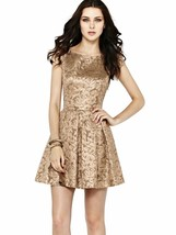 $268 French Connection Blousy Bloom Jacquard Metallic Gold Fit & Flare D... - $83.60