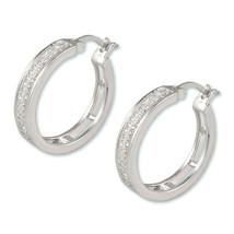 MICRO PAVE CLEAR CUBIC ZIRCONIA HOOP HUGGIE EARRINGS--25MM - $39.59