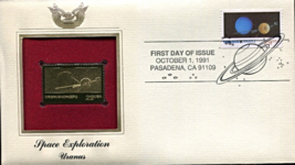 SPACE EXPLORATION - Uranus First Day Gold Stamp Issue Oct. 1, 1991 - $6.50