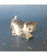 Vintage Ceramic Cat Kitten Figurine Gray Tabby Kitty Playful Stance Japan - $18.76
