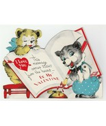 Vintage Valentine Card Mechanical Dressed Bears Write With Ink Pen 1940's - $12.86