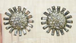 CROWN TRIFARI 1940s Art Deco Clear Rhinestone Flower Clip Earrings Vintage - $89.10