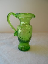 "Kanawha Miniature Green Glass Pitcher with American Eagle 4"" - $8.99"