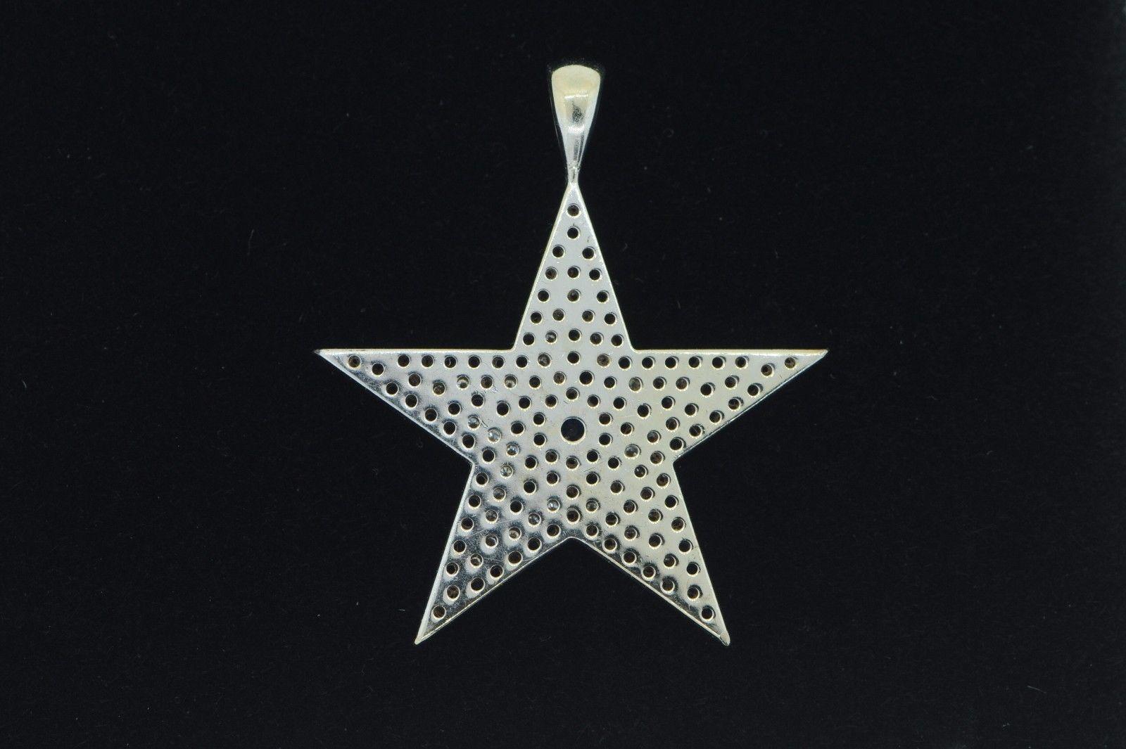 "Custom 14K White Gold ""Dallas Cowboys"" Pave Sapphire and Diamond Star Pendant"