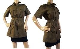 New 1980s Italian Womens army safari shirt blouse khaki military jacket belt - $20.00+