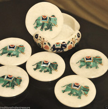 Marble Coffee Tea Coaster Set Rare Elephant Mosaic Inlay Work Table Decor Gifts - $327.58