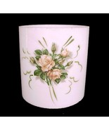 "Cylinder Tube Milk Glass Light Shade 4"" Pink Roses Candle Holder Chandel... - $17.95"