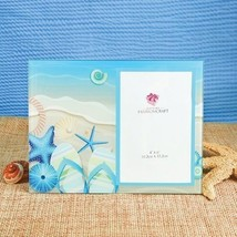 Beach Theme Starfish Blue Glass Picture Frame Gift 7 x 9 - £13.92 GBP