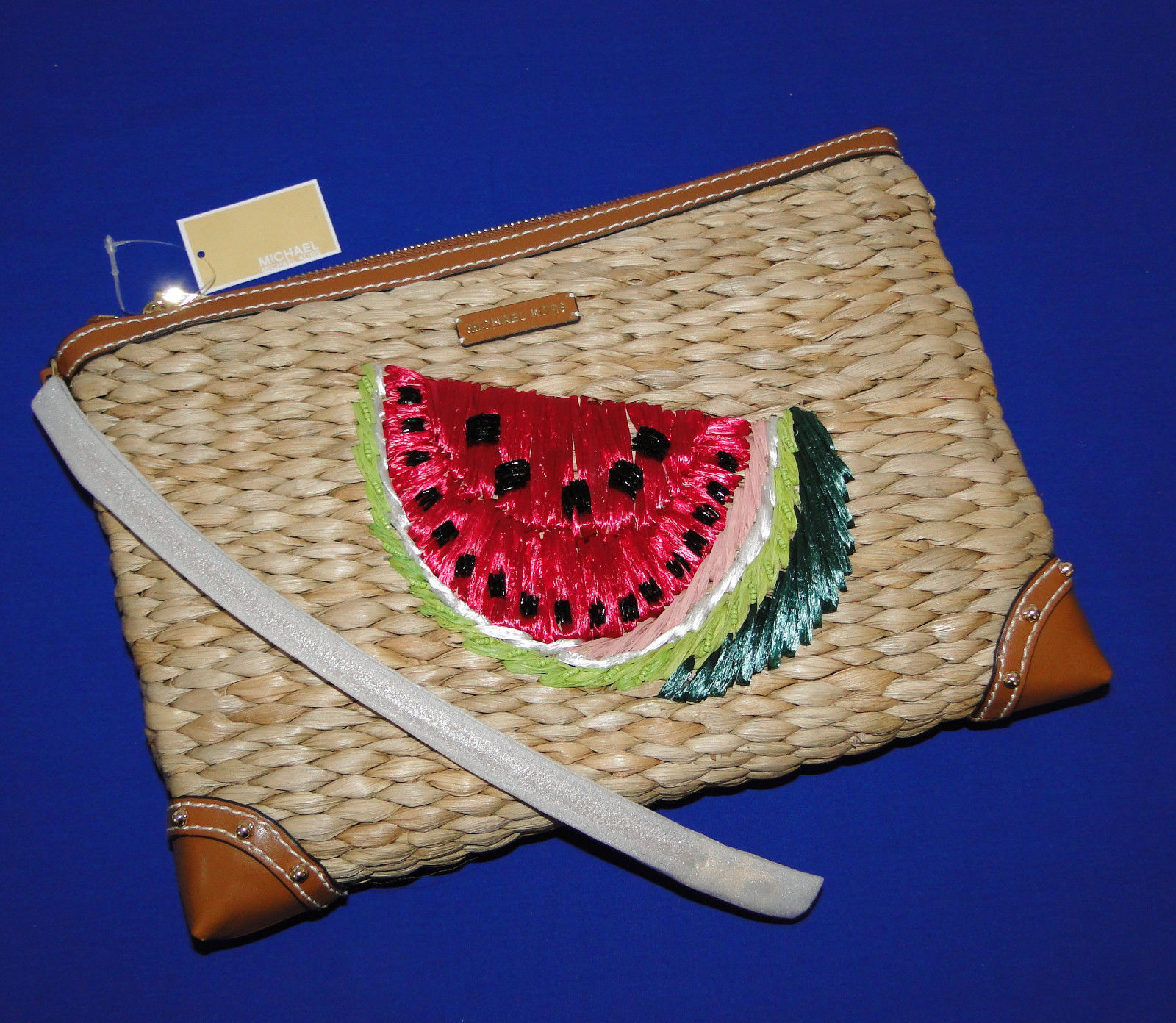 Michael Kors Malibu Watermelon Woven Straw XL Zip Clutch