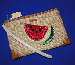 Michael Kors Malibu Watermelon Woven Straw XL Zip Clutch