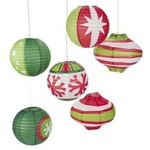 Paper Ornament Party Lanterns-Red/Green/White-Pack of 6 - $15.03