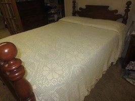 """CROCHETED BEDSPREAD or TABLECLOTH Antique NATURAL HAND MADE   - 94"""" x 108"""" - $99.95"""