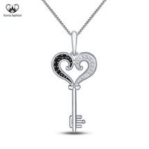 Women's Heart Shape Key Pendants W/ Chain 14k White Gold Plated Pure 925... - £33.33 GBP