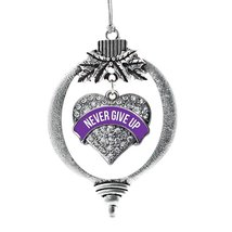 Inspired Silver Purple Never Give Up Pave Heart Holiday Decoration Christmas Tre - €12,80 EUR