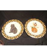2 Debbie Mumm Sakura Halloween Plates Calico Cat & Jack O'Lantern Designs - $8.99