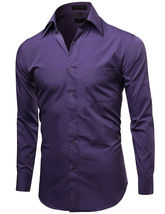 Omega Italy Men's Long Sleeve Solid Barrel Cuff Purple Button Up Dress Shirt 2XL image 4