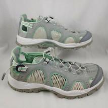 Salomon Mesh Contagrip Hiking Running Shoes US 8 Grey Green White EUR 40 - $44.96