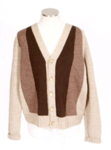 Vintage 1970s Brown Striped Cardigan Sweater Wool Knit Jumper Jacket Men... - $14.84