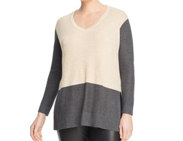 NEW VINCE CAMUTO Size 1X Women's Plus Long Sleeve v-Neck Waffle Knit Swe... - $47.00