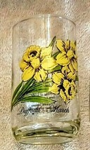 Flower of the Month Beverage Glass March Daffodil Brockway PA 1970's VTG... - $12.00