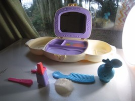 fisher-price dress up vanity 1985 w/ some accessories comb, key, atomize... - $47.64