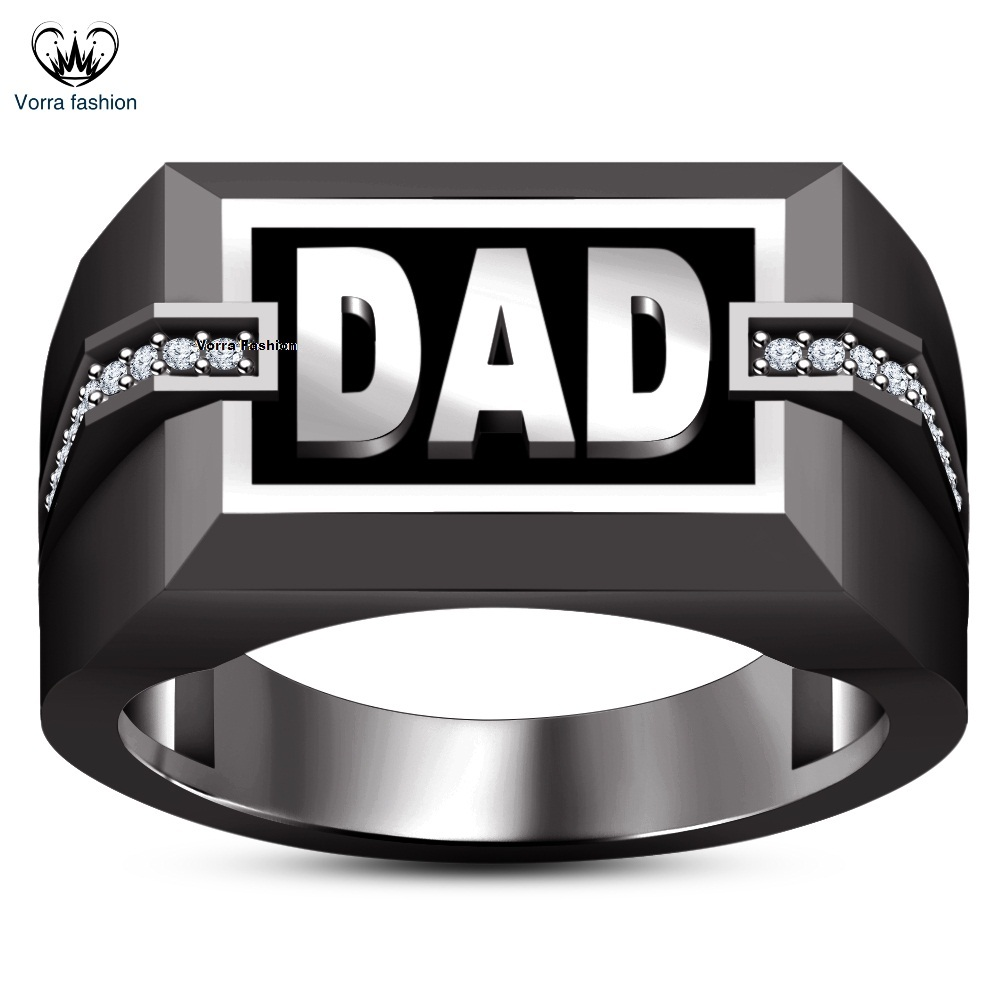 Primary image for Men's Band DAD Ring Black Rhodium Finish 925 Sterling Silver Round Cut White CZ