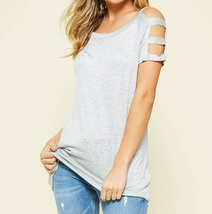Gray Cold Shoulder Top, Open Shoulder Top, Cut Out Sleeve Top, Colbert Clothing