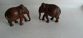 Pair of Vintage Carved Wooden Elephants - $25.83