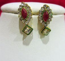 Indian Traditional  Kundan Pendant Bridal Mangalsutra Necklace Earrings Set image 3