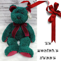 "NEW ~ TY Beanie Buddy ~ 2001 Holiday Buddy ~ 14"" Bear ~ Christmas Plush ... - $7.71"