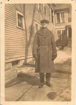 Antique Vintage Photograph Man Wearing Overcoat and Hat Great Outfit - $5.35