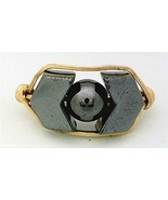 Hematite Chevron Gemstone Bead Gold Wire Wrap Ring sz.8.5 - $10.08