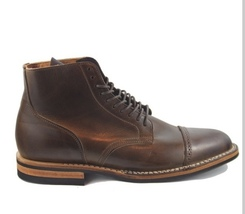 Plain Rounded Cap Toe Brown Color Premium Leather Men Classical Lace Up Boots - $149.90+