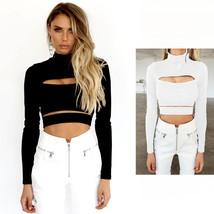 Crop Top Blouse Fashion Cut Out Sexy Women Slim Long Sleeve Turtleneck H... - $12.97