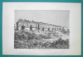 MEXICO Ruins of Uxmal Governor's Palace - 1891 Antique Print Engraving - $21.60