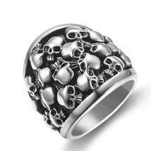 No Fade 316L Stainless Steel Skull Men Rings Hiphop Punk Rock Man Ring J... - $13.14