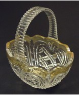 Designer Glass Basket 8in x 7in x 5in 11-113gb Vintage Glass Plastic Handle - $23.72