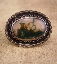 Antique Moss Agate brooch  / sterling picture agate pin / silver haunted brooch  - $125.00