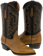 Mens Miel Genuine Bison Leather Stitched Design Leather Cowboy Boots Poi... - $149.99