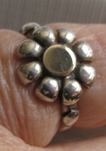 Handcrafted  Ring Daisy Flower Sterling silver and 14k gold Sz 8   - $49.01