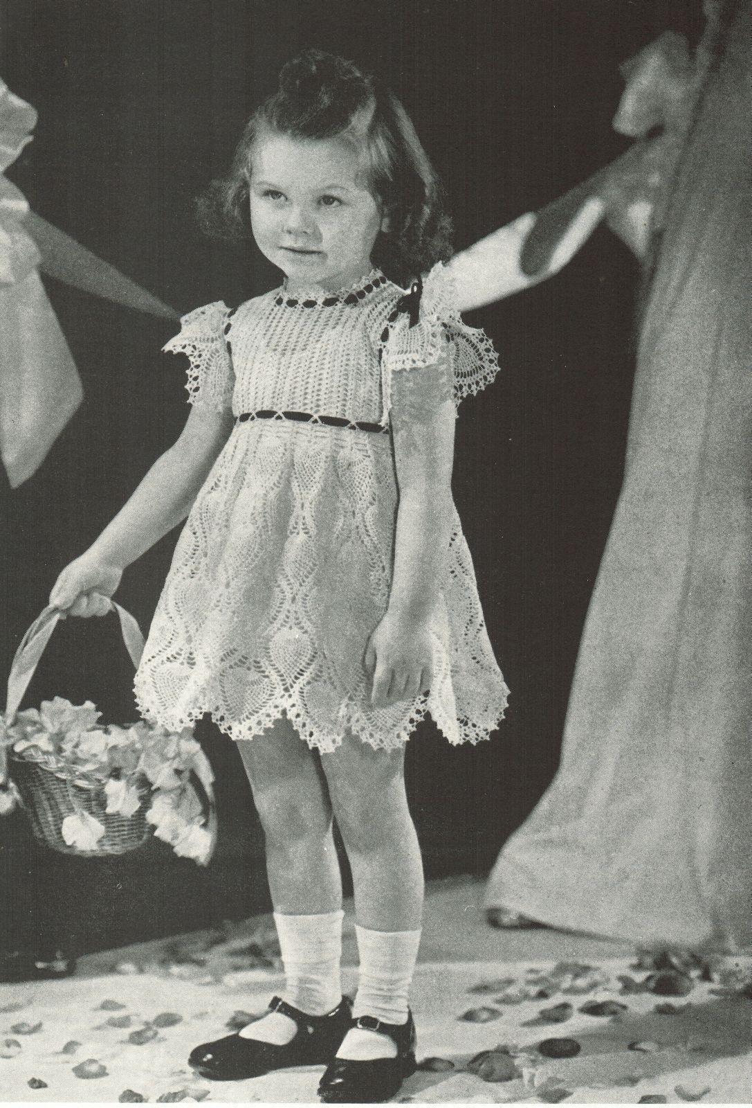 Vtg Toddler Flower Girl Xmas Easter Pineapple Lace Dress Crochet Pattern 2-4