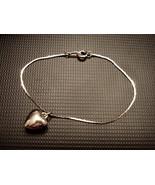 Crown Trifari Charm Bracelet Puffed Heart Silvertone Serpentine Chain Es... - $19.75