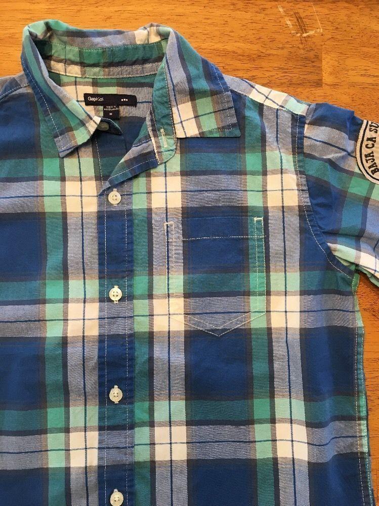 Gap Kids Boy's Blue, Green & White Plaid Short Sleeve Dress Shirt - Size: Medium image 7