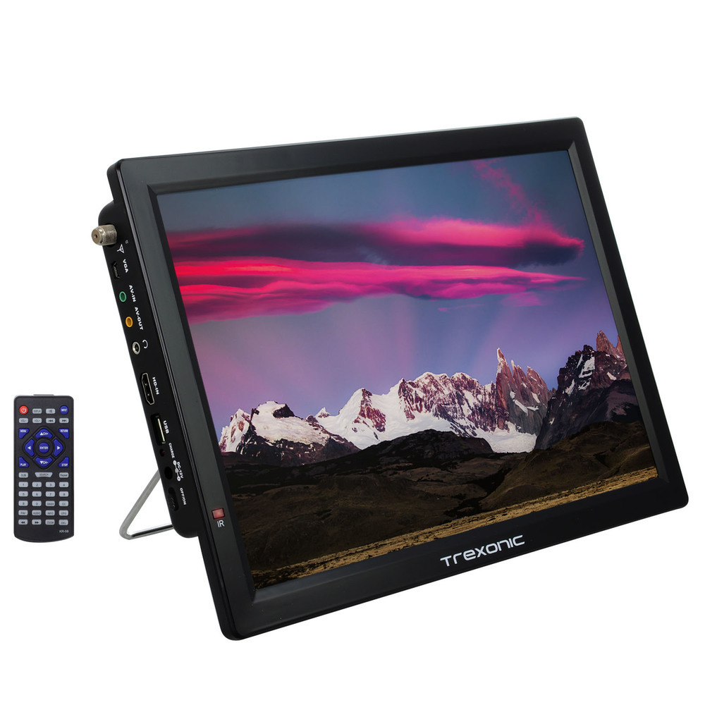 Trexonic Portable Rechargeable 14 Inch LED TV with HDMI, SD/MMC, USB, VGA, AV In